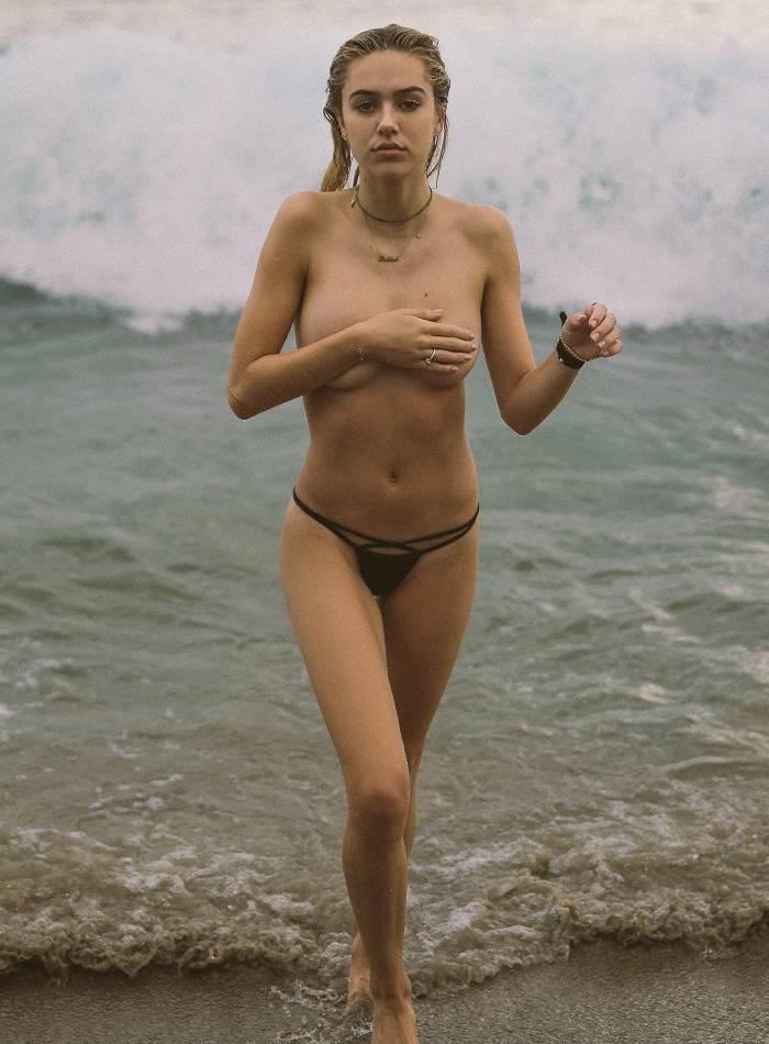 Delilah belle hamlin black bikini in the surf